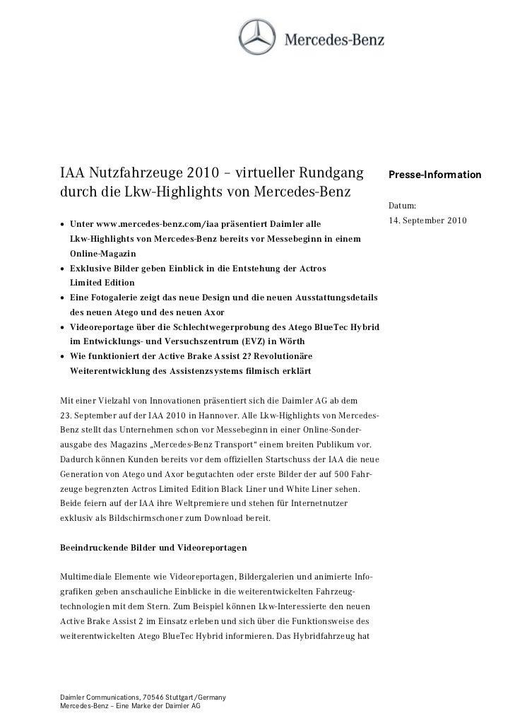 IAA Nutzfahrzeuge 2010 – virtueller Rundgang                                     Presse-Informationdurch die Lkw-Highlight...