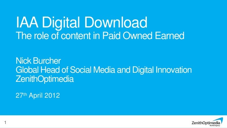 IAA Digital Download    The role of content in Paid Owned Earned    Nick Burcher    Global Head of Social Media and Digita...