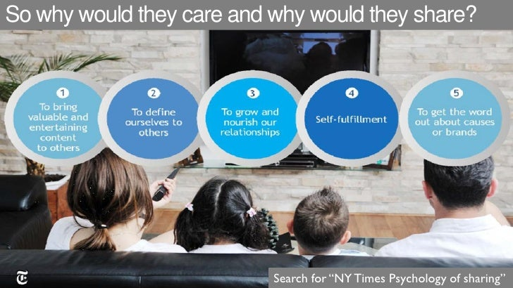 "So why would they care and why would they share?                           Search for ""NY Times Psychology of sharing"""