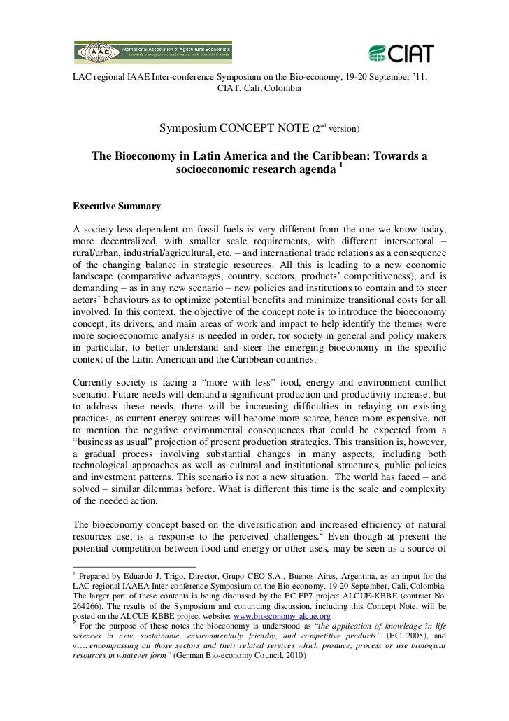 LAC regional IAAE Inter-conference Symposium on the Bio-economy, 19-20 September '11,                                   CI...