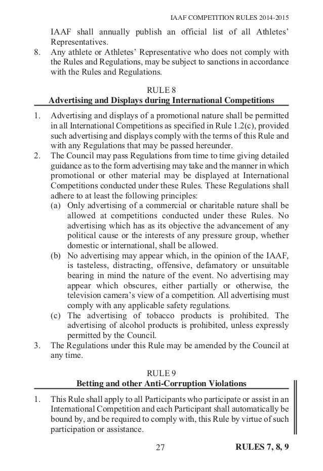 Iaaf Competition Rules 2014 2015