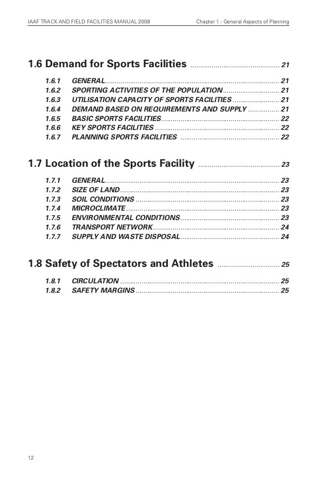 iaaf track and field facilities manual 2008 edition chapters 1 3