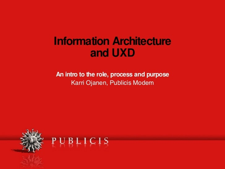 Information Architecture and UXD An intro to the role, process and purpose Karri Ojanen, Publicis Modem