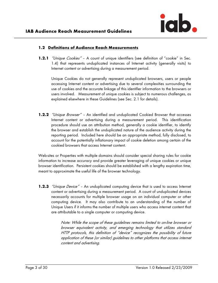 "IAB Audience Reach Measurement Guidelines          1.2 Definitions of Audience Reach Measurements         1.2.1 ""Unique Co..."