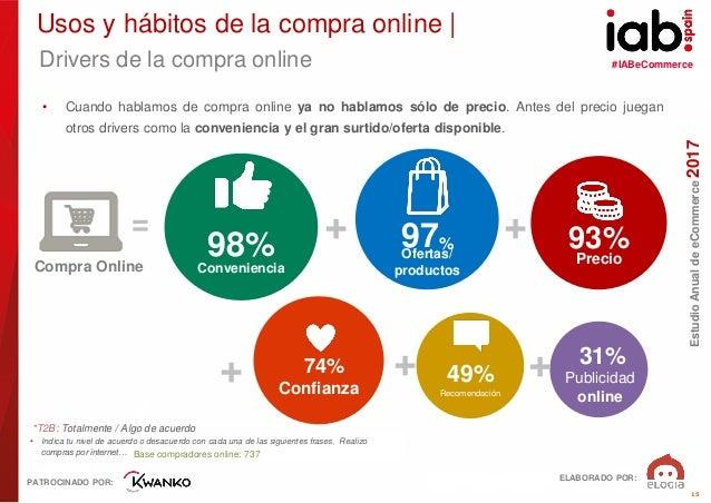 #IABeCommerce ELABORADO POR: PATROCINADO POR: EstudioAnualdeeCommerce2017 15 Drivers de la compra online • Indica tu nivel...