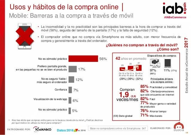 #IABeCommerce ELABORADO POR: PATROCINADO POR: EstudioAnualdeeCommerce2017 18 • Nos has dicho que compras online pero no lo...