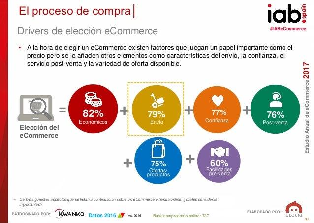 #IABeCommerce ELABORADO POR: PATROCINADO POR: EstudioAnualdeeCommerce2017 31 Base compradores online: 737 • De los siguien...