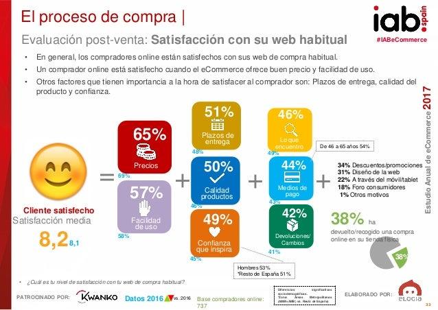 #IABeCommerce ELABORADO POR: PATROCINADO POR: EstudioAnualdeeCommerce2017 33 Base compradores online: 737 • ¿Cuál es tu ni...
