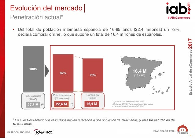 #IABeCommerce ELABORADO POR: PATROCINADO POR: EstudioAnualdeeCommerce2017 7 • Del total de población internauta española d...