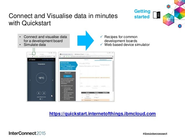 Connect and Visualise data in minutes with Quickstart  Recipes for common development boards  Web based device simulator...