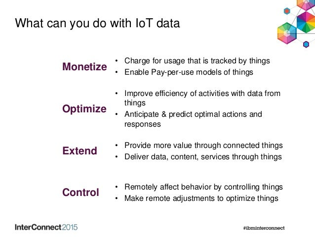 What can you do with IoT data Monetize • Charge for usage that is tracked by things • Enable Pay-per-use models of things ...