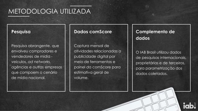 METODOLOGIA UTILIZADA Complemento de dados O IAB Brasil utilizou dados de pesquisas internacionais, proprietárias e de ter...