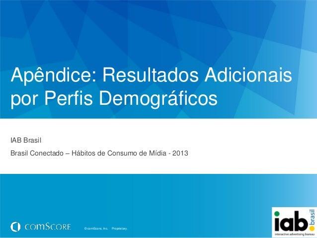 © comScore, Inc. Proprietary.© comScore, Inc. Proprietary.Apêndice: Resultados Adicionaispor Perfis DemográficosIAB Brasil...