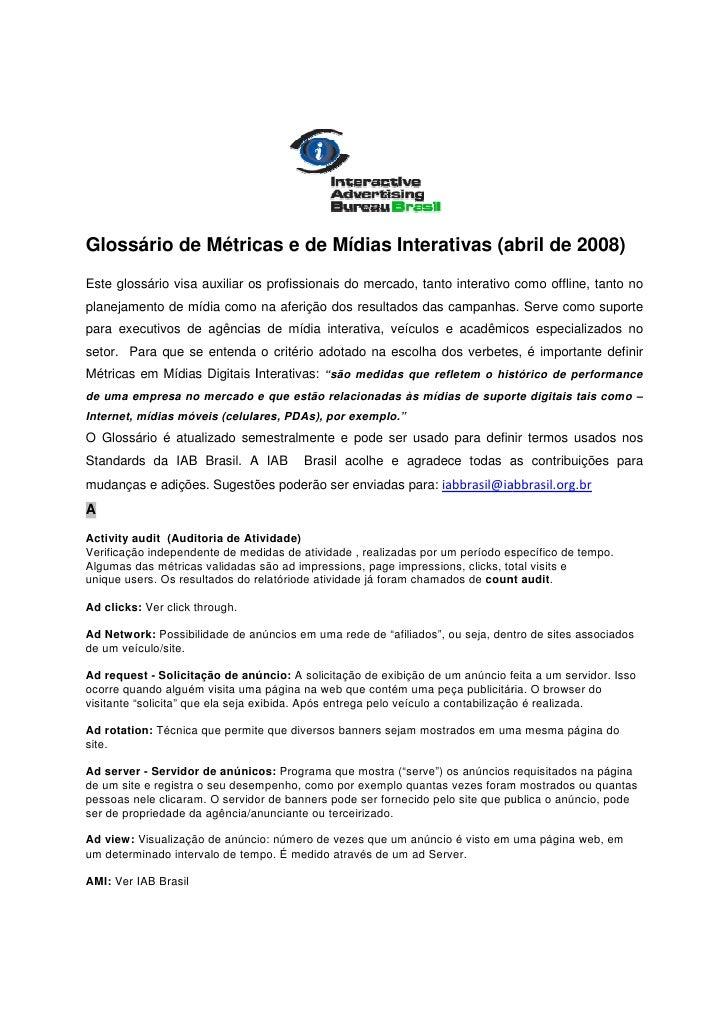 Glossário de Métricas e de Mídias Interativas (abril de 2008)                                                abril Este gl...