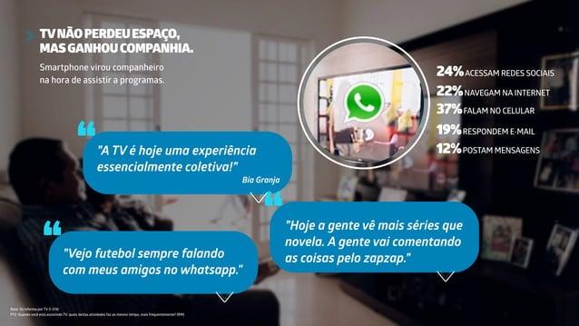 """TVNÃOPERDEUESPAÇO, MASGANHOUCOMPANHIA. Smartphone virou companheiro na hora de assistir a programas. """"""""A TV é hoje uma exp..."""