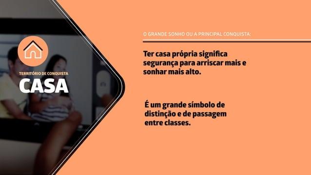 O GRANDE SONHO OU A PRINCIPAL CONQUISTA: É um grande símbolo de distinção e de passagem entre classes. CASA TERRITÓRIO DE ...