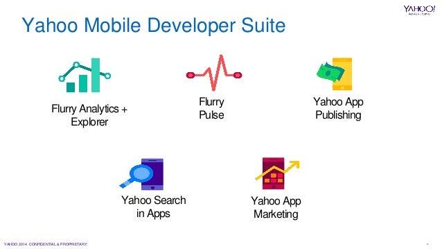 YAHOO 2014 CONFIDENTIAL & PROPRIETARY. 16 Flurry Analytics + Explorer Flurry Pulse Yahoo App Publishing Yahoo Search in Ap...