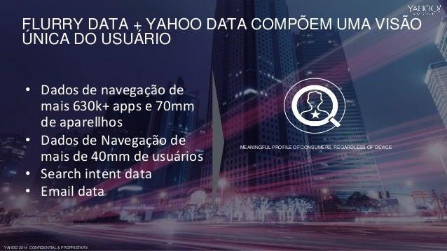 YAHOO 2014 CONFIDENTIAL & PROPRIETARY. FLURRY DATA + YAHOO DATA COMPÕEM UMA VISÃO ÚNICA DO USUÁRIO • Dados de navegação de...