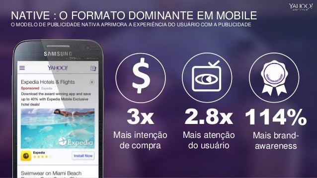 3x Mais intenção de compra 114% Mais brand- awareness 2.8x Mais atenção do usuário NATIVE : O FORMATO DOMINANTE EM MOBILE ...