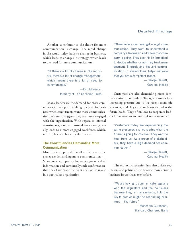 Detailed Findings  Another contributor to the desire for more  communication is change. The rapid change  in the world tod...