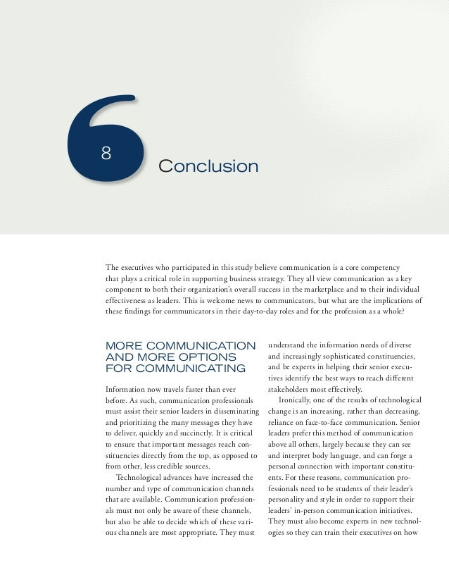 8  Conclusion  The executives who participated in this study believe communication is a core competency  that plays a crit...