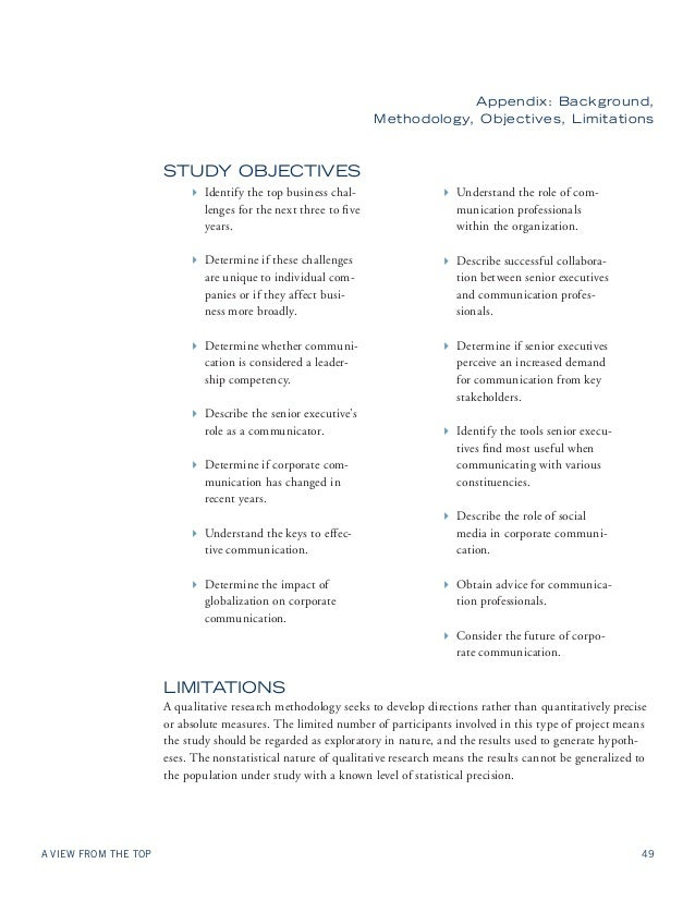 Appendix: Background,  Methodology, Objectives, Limitations  Study Objectives  4 Identify the top business chal-lenges  fo...