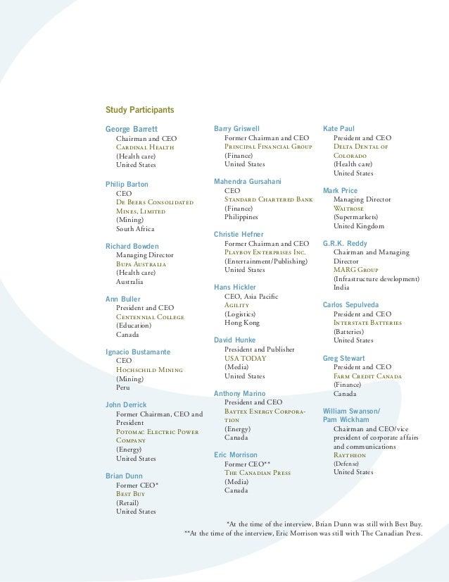 Executive Summary  Study Participants  George Barrett  Chairman and CEO  Cardinal Health  (Health care)  United States  Ph...