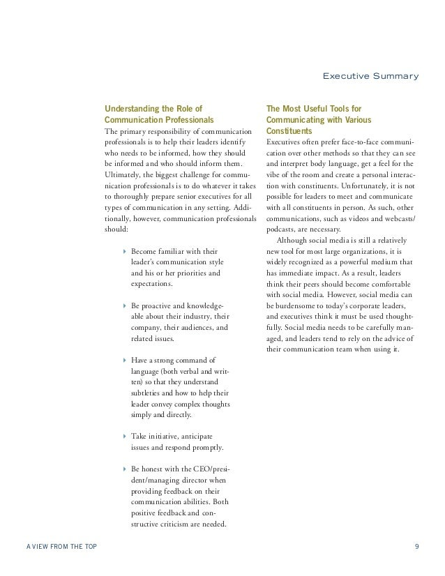 Executive Summary  Understanding the Role of  Communication Professionals  The primary responsibility of communication  pr...