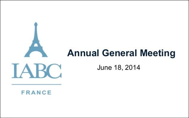 Annual General Meeting June 18, 2014