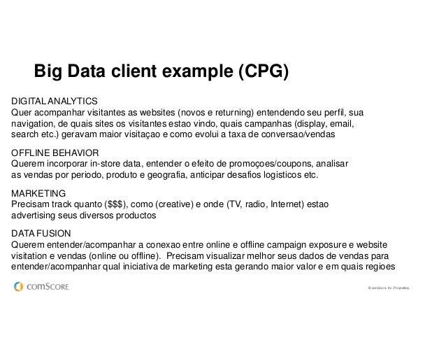© comScore, Inc. Proprietary. Big Data client example (CPG) No fim das contas, cada organização deve decidir o que signifi...