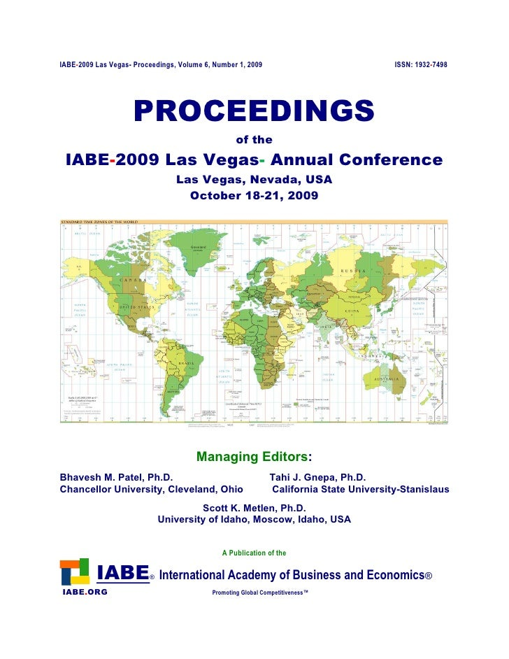 IABE-2009 Las Vegas- Proceedings, Volume 6, Number 1, 2009                              ISSN: 1932-7498                   ...