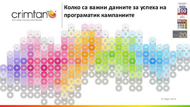 MULTI-CHANNEL, DATA-DRIVEN, ONLINE MARKETING Колко д те у пе п о т к к п те 31 2014