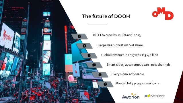 OMD TURKEY FOR HEWLETT PACKARD DOOH to grow by 12.6% until 2023 The future of DOOH Europe has highest market share Global ...
