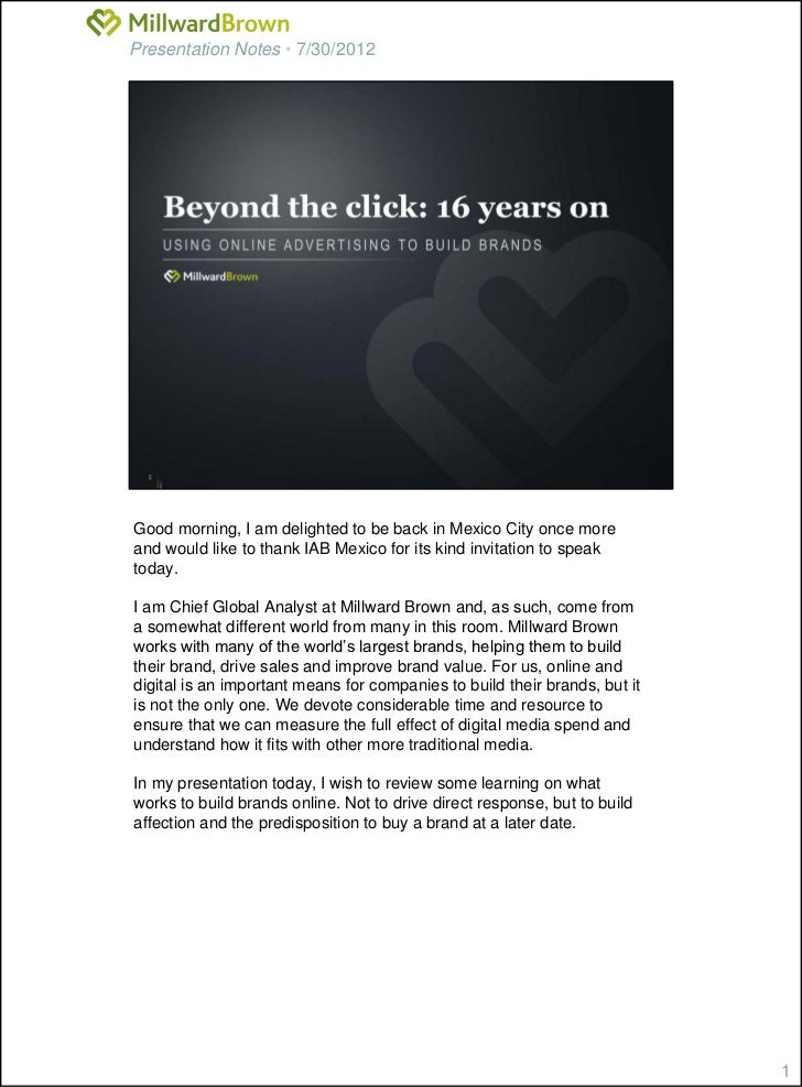 Presentation Notes • 7/30/2012Good morning, I am delighted to be back in Mexico City once moreand would like to thank IAB ...