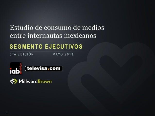 Estudio de consumo de mediosentre internautas mexicanosSEGMENTO EJECUTIVOS15 TA E D I C I Ó N M AY O 2 0 1 3