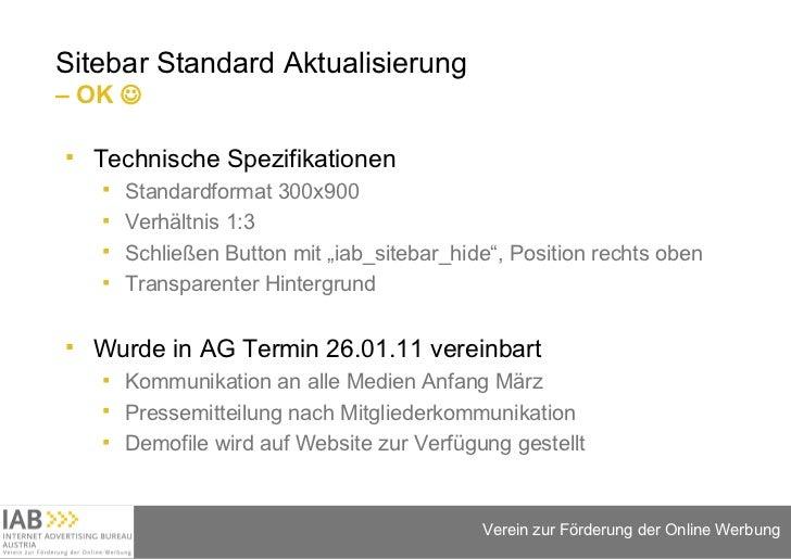 Sitebar Standard Aktualisierung  – OK   <ul><li>Technische Spezifikationen </li></ul><ul><ul><li>Standardformat 300x900 <...