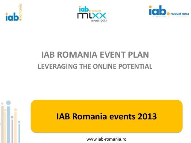 IAB ROMANIA EVENT PLANLEVERAGING THE ONLINE POTENTIAL    IAB Romania events 2013             www.iab-romania.ro