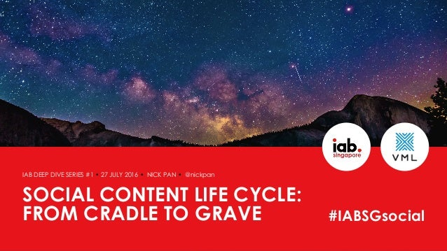 SOCIAL CONTENT LIFE CYCLE: FROM CRADLE TO GRAVE IAB DEEP DIVE SERIES #1 • 27 JULY 2016 • NICK PAN • @nickpan #IABSGsocial