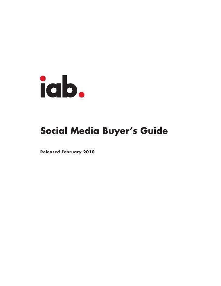 Social Media Buyer's Guide  Released February 2010