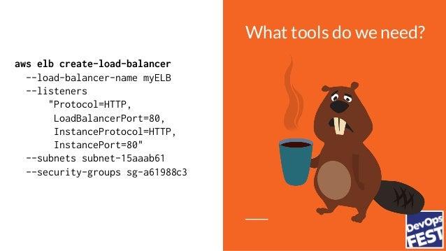 "What tools do we need? aws elb create-load-balancer --load-balancer-name myELB --listeners ""Protocol=HTTP, LoadBalancerPor..."