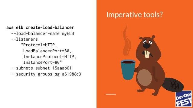 "Imperative tools? aws elb create-load-balancer --load-balancer-name myELB --listeners ""Protocol=HTTP, LoadBalancerPort=80,..."