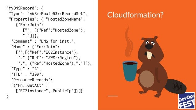 """Cloudformation? """"MyDNSRecord"""": { """"Type"""": """"AWS::Route53::RecordSet"""", """"Properties"""": { """"HostedZoneName"""": {""""Fn::Join"""": ["""""""", [{..."""