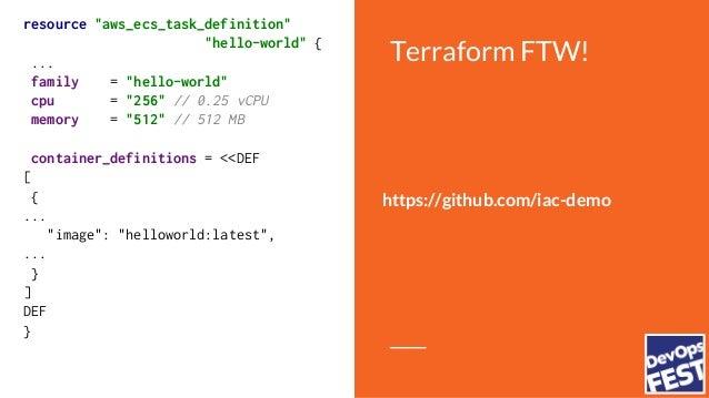 "Terraform FTW! resource ""aws_ecs_task_definition"" ""hello-world"" { ... family = ""hello-world"" cpu = ""256"" // 0.25 vCPU memo..."