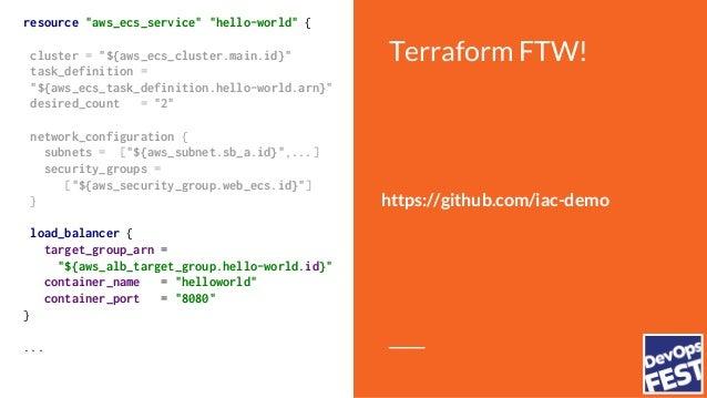 "Terraform FTW! resource ""aws_alb"" ""hello-world"" { name = ""hello-world"" subnets = [...] security_groups = [...] vpc_id = ""$..."