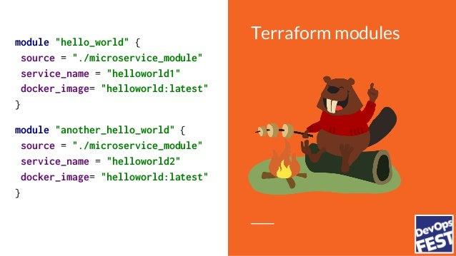 "Terraform modules Local Storage S3 Consul Terraform Registry Git … and others module ""hello_world"" { source = ""git::https:..."