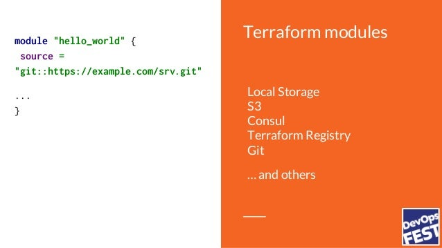 "Terraform modulesmodule ""hello_world"" { source = ... service_name = ""helloworld"" docker_image= ""helloworld:latest"" }"