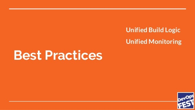 Best Practices Unified Build Logic Unified Monitoring Code Reviews CI/CD