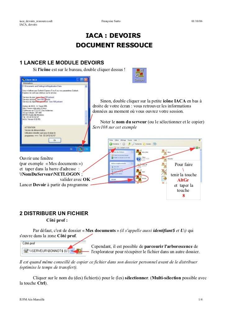 iaca_devoirs_ressource.odt                       Françoise Sarto                                    01/10/06IACA, devoirs ...