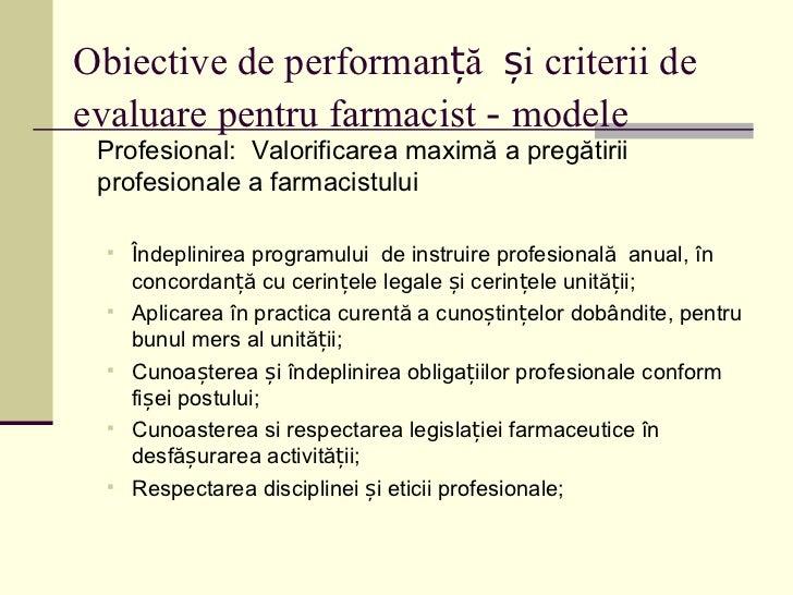 Evaluarea farmacistului, componenta a sistemului de ...