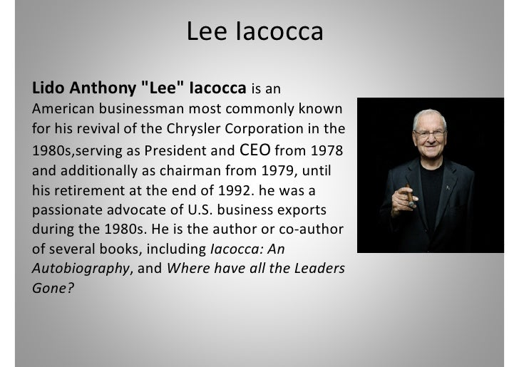 iacocca an autobiography Lee iacocca and the ford pinto from iacocca, lee (with william novak), iacocca,  an autobiography, 1984, bantam books, ny pp 171-172, reprinted with.